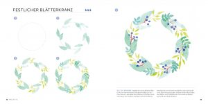 Berriesandbuttercup Lena Yokota Barth Illustration Watercolor easy einfach Blätterkranz surface pattern design