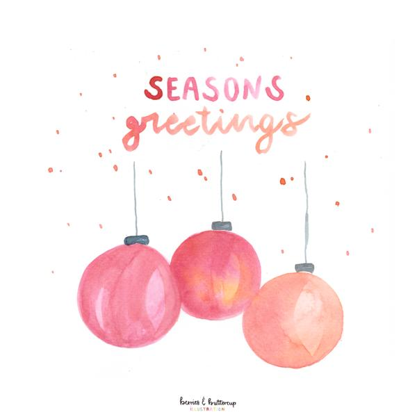 christmas seasons greetings watercolor watercolour japan schirme regen sprüche zitate aquarell lena yokota-barth berriesandbuttercup portfolio illustration illustrations editorial zeitschrift colors pfirsich fruits peach obst farben stationery gift wrapping greeting cards pattern design