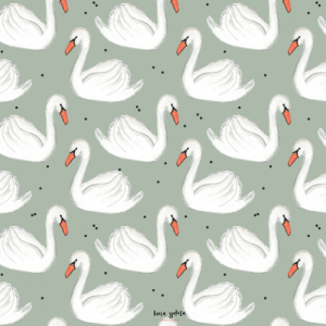surface pattern design illustration homedecor kidsdesign kidsroom kidsinterior lenayokota swan animals abstracts dots stripes tabletop fabricdesign