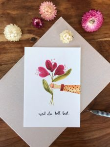 greetingcard grußkarte illustration blumen floral flower floralgreetings weildutollbist du bist toll lenayokotaillustration lenayokota lena yokota illustration design